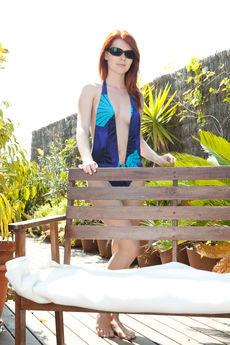 redhaired mia sollis swimmsuit sexy strips outdoors fingers bald twat PICTURE 1