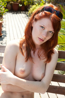redhaired mia sollis swimmsuit sexy strips outdoors fingers bald twat PICTURE 12